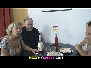 Old couple 3some sex with son S blonde gf