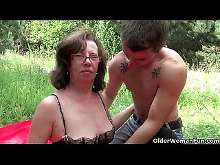 Grannies and milfs suck and fuck outdoors