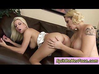 Frisky big tit blonde tessa taylor washes her lover mandy sweet in her slobber