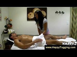 Undressed asian masseuse jerks dick off