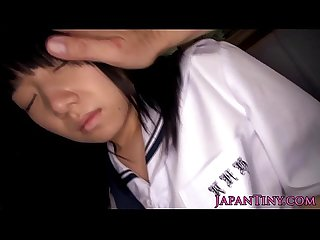 Tiny uniformed asian swallows jizz