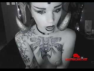Tattooed satanic bondage babe does livecam chattercams net