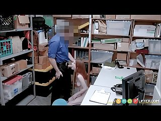 Hot red head shoplifter blackmail security fuck