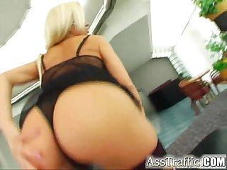 Ass traffic busty stacy takes dong up the ass she swallows sperm