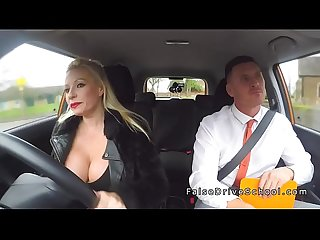 Busty driving student gets creampie pov