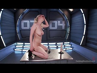 Busty blonde Cherry Torn having fun with dildo and fucking machine