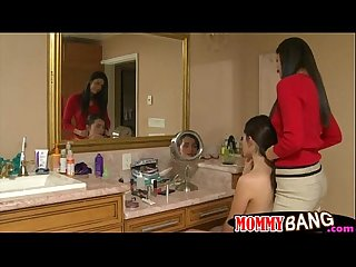Teen melanie and stepmom india horny 3some in the bathroom