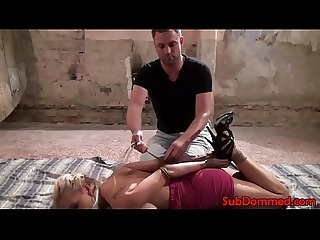 Blonde bdsm submissive restrained and gagged