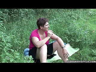 The great outdoors wets grandma s appetite for cock and cum