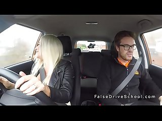 Huge tits blonde in sneakers bangs in car