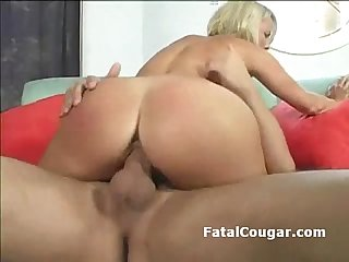 Stud licks shorthair cougar with big boobs then drills her shaved pussy