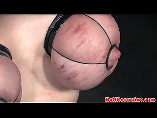 Tit bound sub caned on her red raw chest