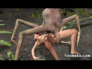 3d redhead getting fucked by an alien spider