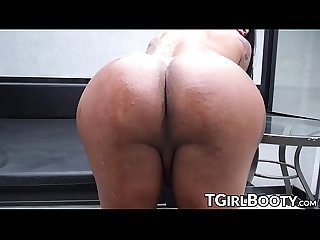 Inked TS bombshell teasing before anal destruction