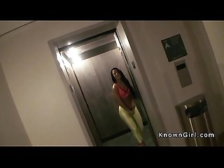 Slim brunette teen banged pov in hotel room