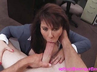 Busty mom sucks and fucks pawnbroker for good cash