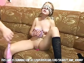 Little blonde girl tied up and Tortured