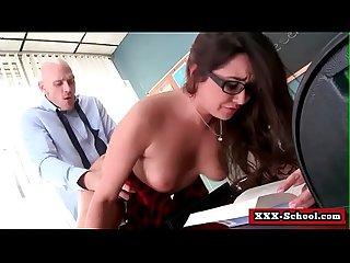 Busty teacher and schoolgirl banged hard big boobs at school 18