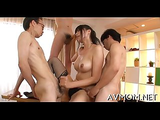 Hot mom seduces 2 horny chaps