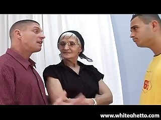 White haired granny takes latino cock and facial