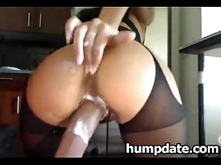 Sexy babe riding her huge dildo