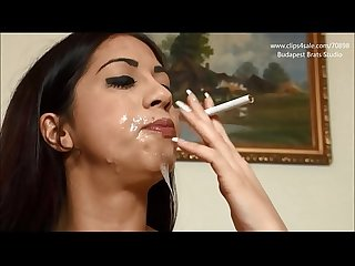 Girl smoke with cum on mouth