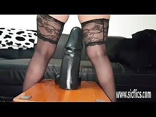 Gargantuan dildo fucking amateur milf sarah