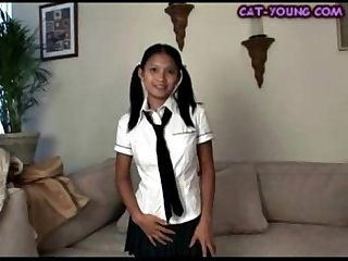 Asian schoolgirl striptease kat young