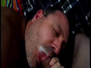 Gay blowjob lick up cum