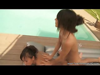 Two girls massage around