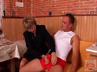 Mature mother and the Son's friend have a good time on kitchen. - xHamster.com
