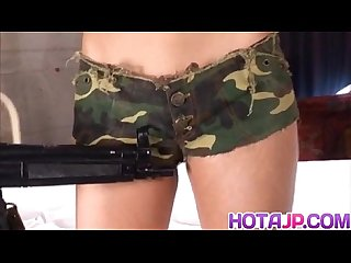 Rukia mochizuki is threatened with gun before is fucked on and on