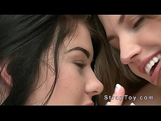 Busty lesbian teens loves strap on dildo