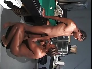 Black guy in room blows dude's hard black cock and takes it up his ass