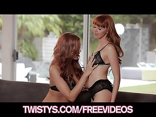 Two gorgeous natural redheads make passionate love
