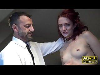 Mouth spermed fetish submissive gets belt