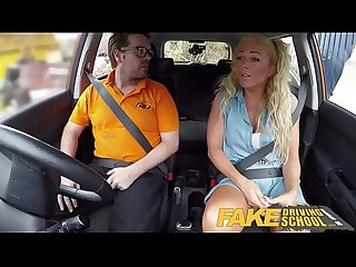 Fake Driving School Sloppy titwank and backseat blowjob with big tits Brit