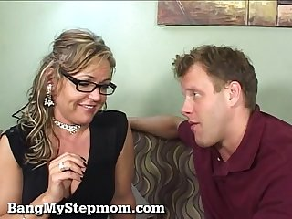 Horny wife cheats with her stepson
