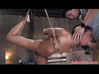 Suspended bdsm sub anal and pussy fucked