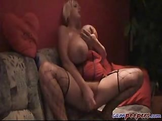 Blonde with monster huge breasts playing with dildo