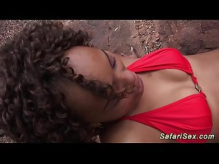 Skinny african safari sex chick