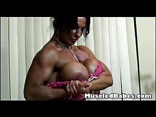 Amazing big tit muscled ebony babe