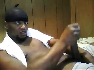black man stroking huge cock on webcam - sexyladcams.com