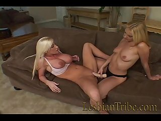 sexy blondes with big boobs sharing strapon