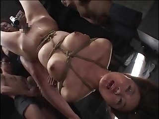 Japanese Teen tied upside down used as a cum target