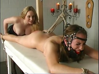 Redhead slave natali demore tied forced cum sexy by lesbian