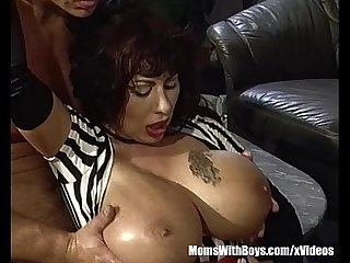 Mature with explosive tits gangbanged by three dicks