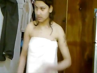 Indian sexy girl dancing to movie song in towel