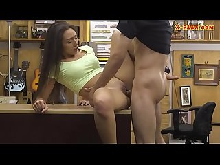 Small tits woman railed at the pawnshop