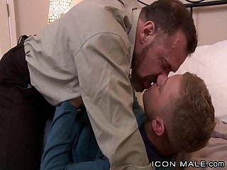 Hot daddy kissing his boy